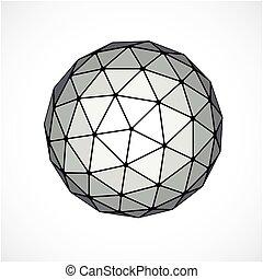 esférico, uso, hecho, forma, engineering., facetas, objeto, forma., poly, triangular, dimensional, vector, diseño, bajo, monocromo, elemento, tecnología, trigonometría, 3d