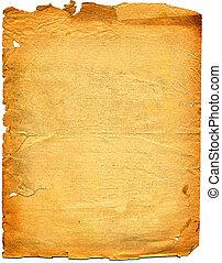esfarrapado, white., edge., papel, antigas, textured