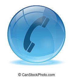 esfera, ícone, 3d, telefone, vidro