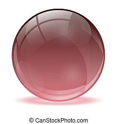esfera, 3d, cristal