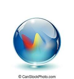 esfera, 3d, cristal, vector., vidro