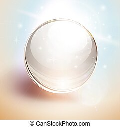esfera, 3d, fundo, vidro