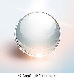 esfera, 3d, plano de fondo, vidrio