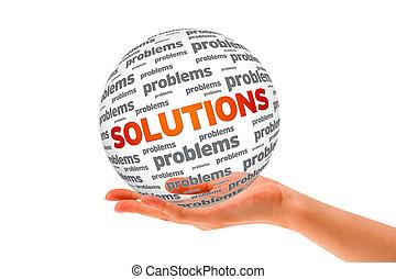 esfera, 3d, soluções, segurando mão