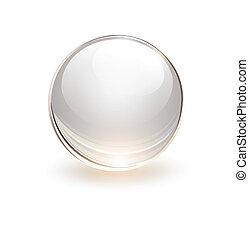 esfera, 3d, vidro