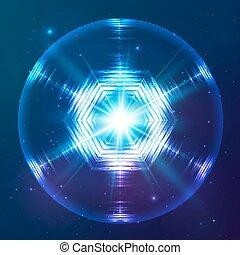 esfera, abstratos, vetorial, cósmico, brilhar