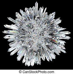 esfera, agudo, columnas, cristal