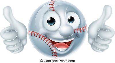 esfera baseball, personagem, caricatura, homem
