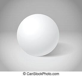 esfera blanca, en, gris, escena