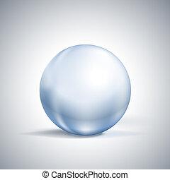 esfera, blanco, brillante