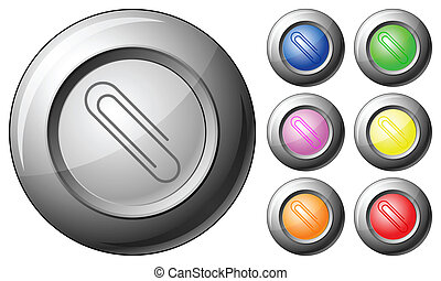 esfera, botão, clipe para papel