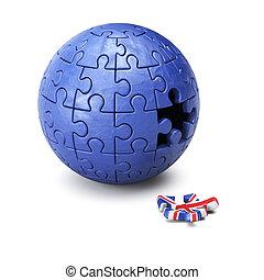 esfera, brexit, conceito, quebra-cabeça