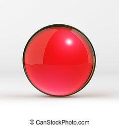esfera, brillante, rojo