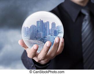 esfera, ciudad, tenencia, hombre de negocios
