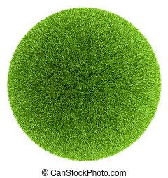 esfera, coberto, com, grama verde, isolado, branco, experiência.