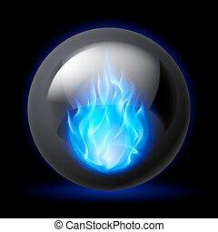 esfera, com, fogo, chamas