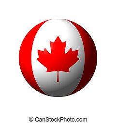 esfera, con, bandera, de, canadá