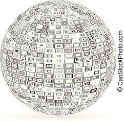 esfera, con, cuadrados, y, rectángulos