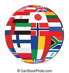 esfera, con, mundo, banderas