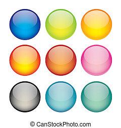 esfera, conjunto, red, iconos