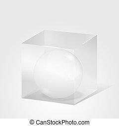 esfera, dentro, cubo, transparente