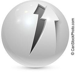 esfera, descascado, isolado, experiência., seta, branca, ícone