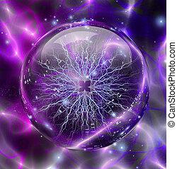 esfera, eléctrico, encerrado