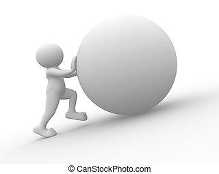 esfera, empujar