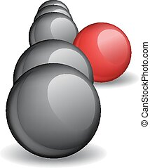 esfera, estante, group., único, rojo, concepto, afuera
