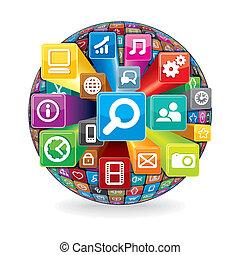 esfera, feito, de, um, social, mídia, e, ícones computador