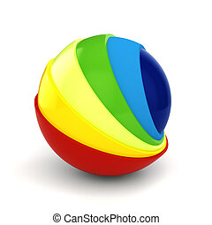 esfera, fundo branco, coloridos, 3d