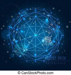 esfera, globo, conectar, plano de fondo, brillar
