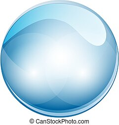 esfera, ilustração, cristal, vetorial, ball., 3d
