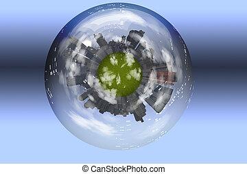 esfera, incluido, verde, cidade, planeta