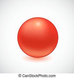 esfera, isolado, white., vermelho, 3d