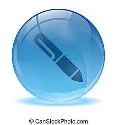 esfera, lápis, 3d, ícone, vidro