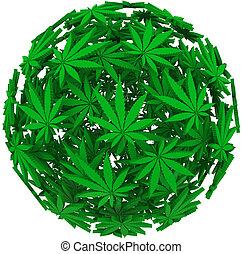 esfera, médico, folha, marijuana, fundo