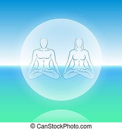 esfera, meditación, alma, dual