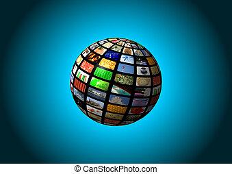 esfera, multimedia, fundo