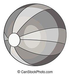 esfera praia, ícone, cinzento, monocromático, estilo