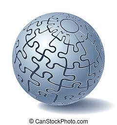 esfera, quebra-cabeça, jigsaw