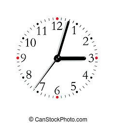 esfera, reloj, macro, aislado, cara, negro, p.m., blanco,...