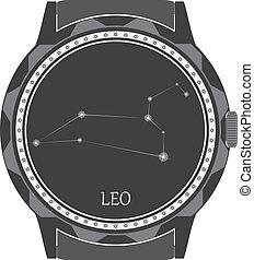 esfera, reloj, zodíaco, leo., señal