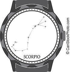 esfera, scorpio., reloj, zodíaco, señal
