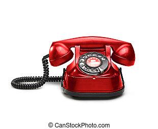 esfera, telephon, viejo, rotatorio, rojo