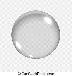 esfera, vacío, vidrio traslúcido