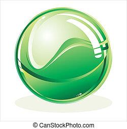 esfera, verde, brillante