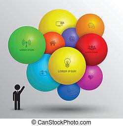 esfera, vetorial, conceito, modelo