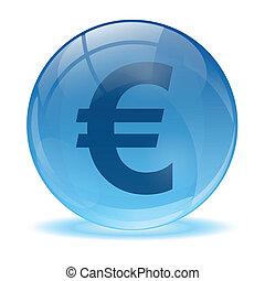esfera, vidro, ícone, euro, 3d