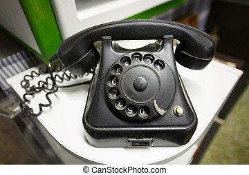esfera, viejo, vendimia, teléfono, rotatorio, números